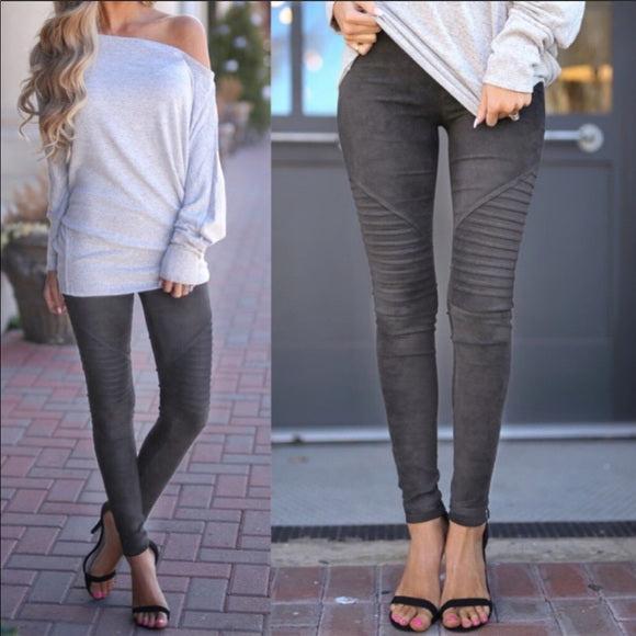 SUEDE MOTO JEGGINGS