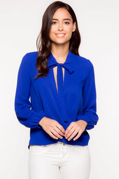 LONG SLEEVE BLOUSE WITH FRONT NECK TIE