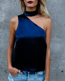 NAVY SATIN CHOKER TOP