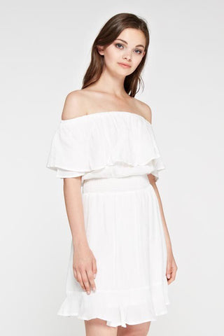 DREAMY WHITE RUFFLE OFF THE SHOULDER DRESS
