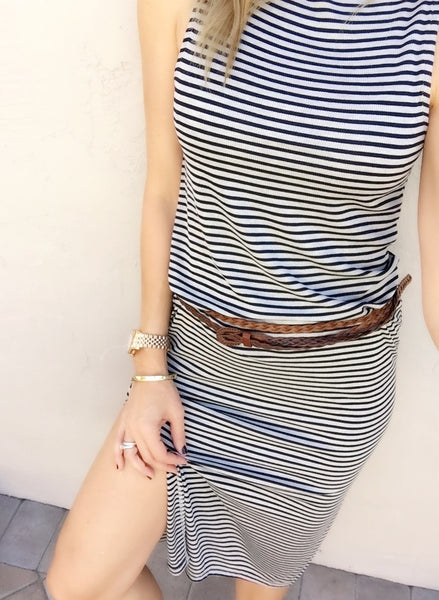 STRIPED KNIT SHIFT DRESS