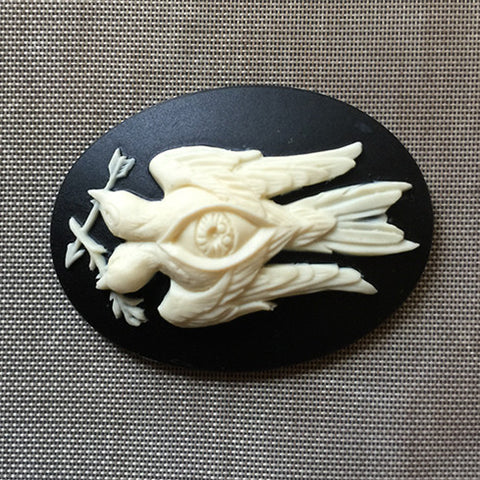 Branch and Arrow Two headed bird Cameo - 40x30mm