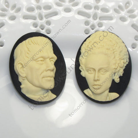 Frankenstein and/or Bride of Frankenstein Cameo - 40x30mm - (TU Original Design)