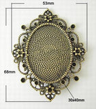 Setting Blank for cameo 40x30 Pendant Tray Bezel Add Rhinestones (Sold individually)