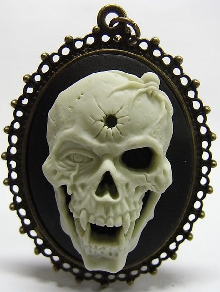 Zombie Vampire with Spider and bullet hole cameo - 40x30mm - 1pc