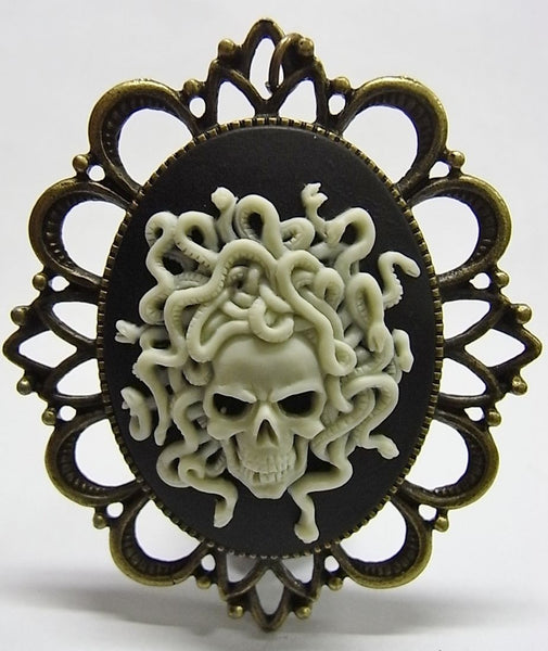 Skeleton Medusa Snakes Cameo - 40x30mm - 1pc
