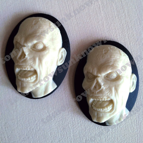 Zombie Head Cameo - 40x30mm - 1pc