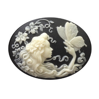 Fairy girl with butterfly horizontal Cameo - 40x30mm - 1pc