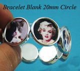bracelet blank stretch black/silver - 20mm round bezels settings