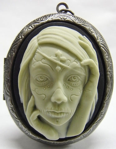 Day of the Dead Face Closeup Girl Cameo - 40x30mm - 1pc