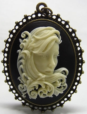 Fancy Ornate Filigree Scroll Girl Cameo - 40x30mm - 1pc