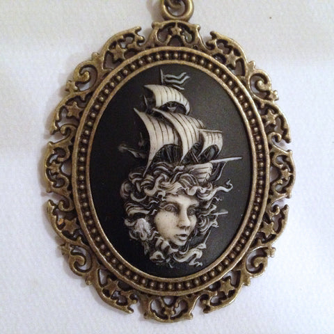 victorian girl with Ship on her head cameo - 40x30mm - (TU Original Design)
