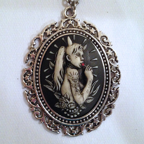 Lollipop Horned girl cameo- 40x30mm - (TU Original Design)