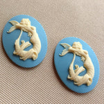 Mermaid sexy pinup Cameo - 40x30mm - (TU Original Design) Ivory on blue only