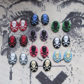 Skull and Crossbones cameo - 18x13mm - Full Set - 20pcs