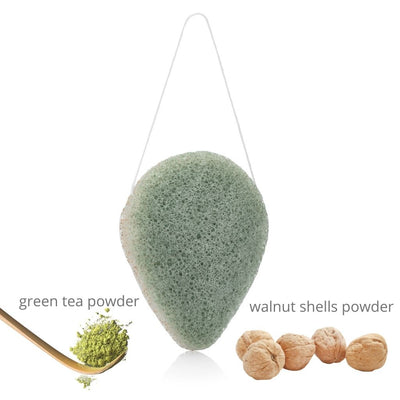 Green Tea/Walnut Shell  Konjac Sponge - Hello Cider