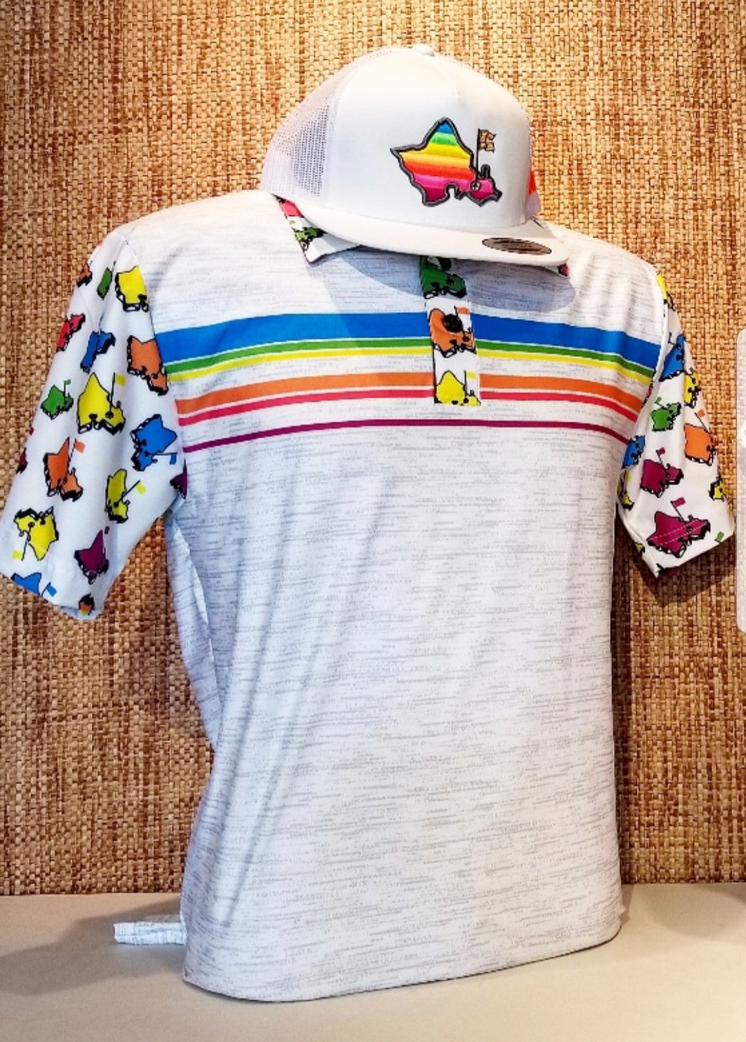 OGA MULTI-COLOR ISLAND PATTERN SHAVE ICE POLO
