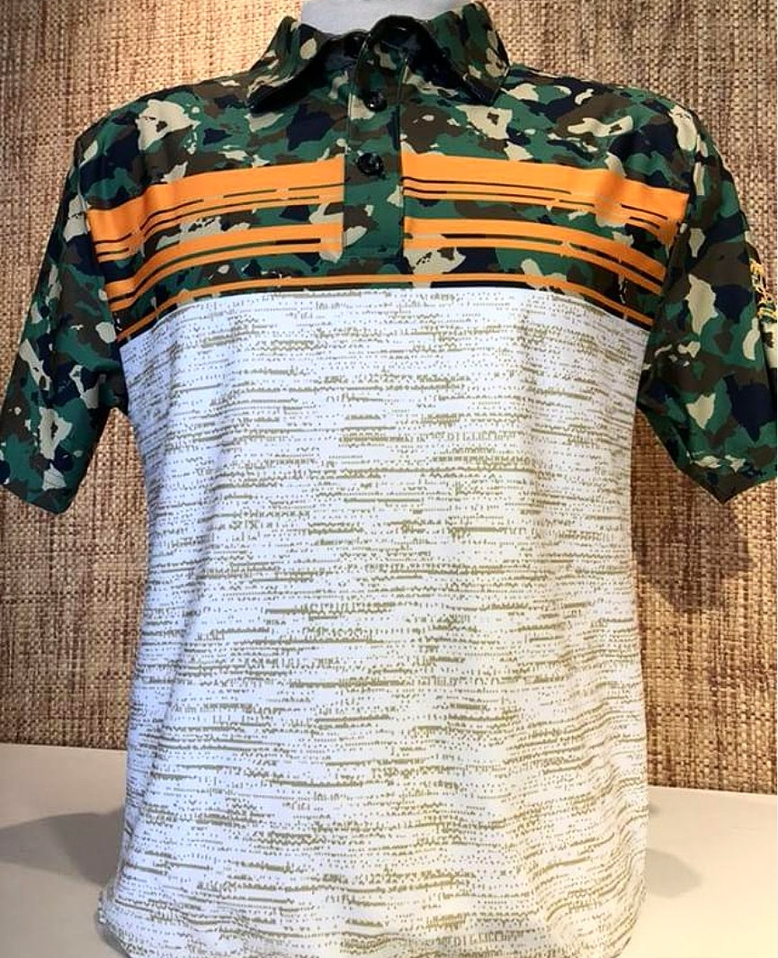 LIMITED EDITION HAWAIIAN ISLAND GREEN BROWN BLACK CAMO (WHITE BOTTOM )
