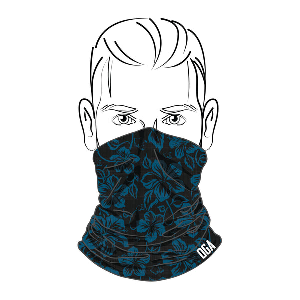 BLACK AND BLUE OGA HIBISCUS NECK GAITER