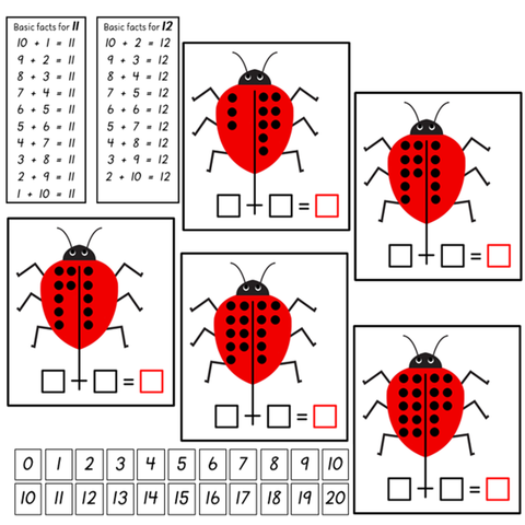 Addition Ladybirds 11 to 20