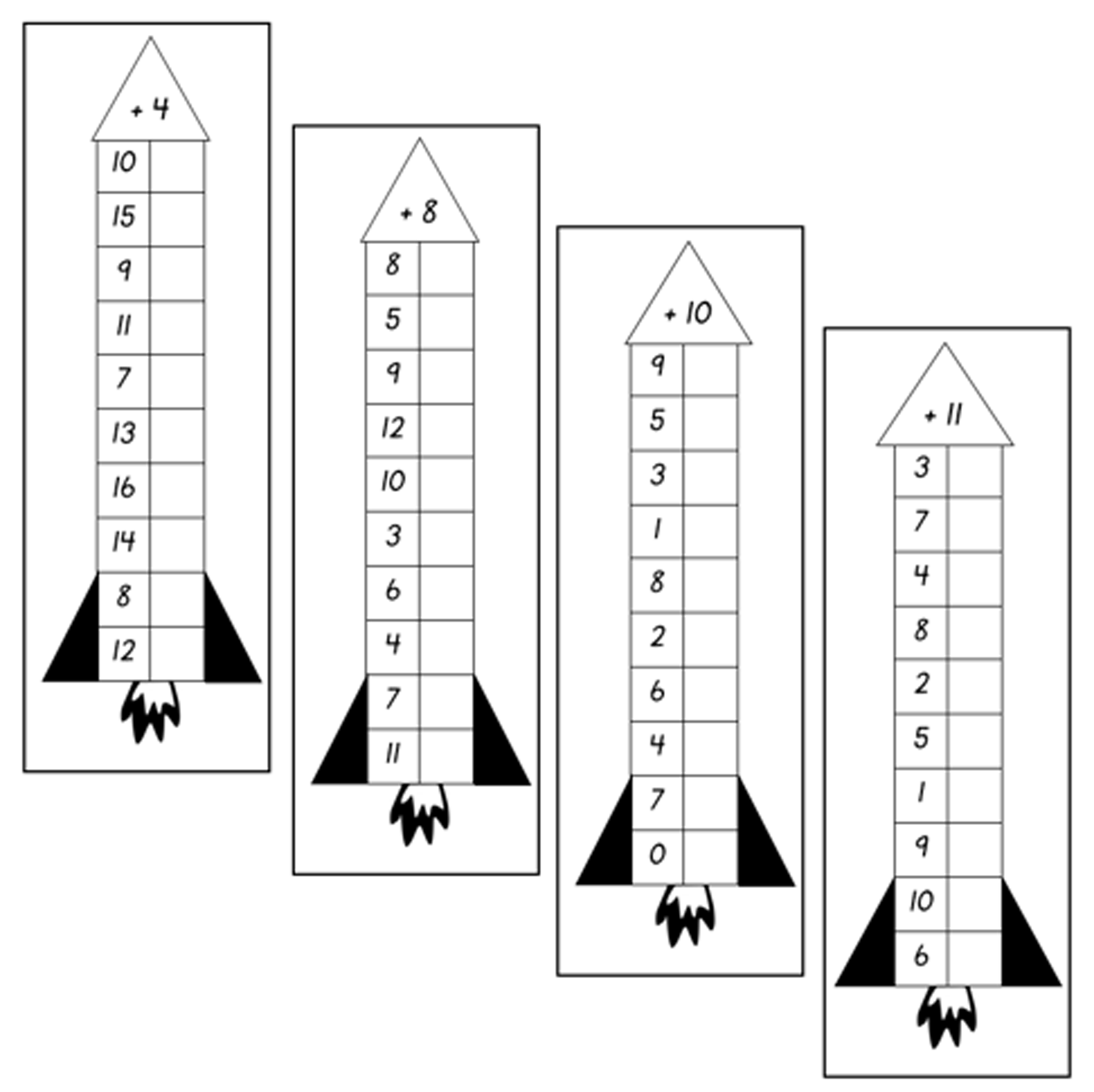 Addition Rockets adding numbers 1-10
