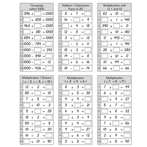 Basic Facts Practice Pages - Sums to 1000, x3,4,6,7,8,9