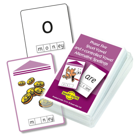 Letters and Sounds Phase 5 Short & R-Controlled Vowel Alternative Spellings Chute Cards