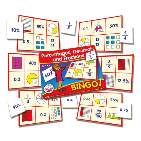 photograph relating to Fraction Bingo Printable known as Percentages, Decimals Fractions Bingo