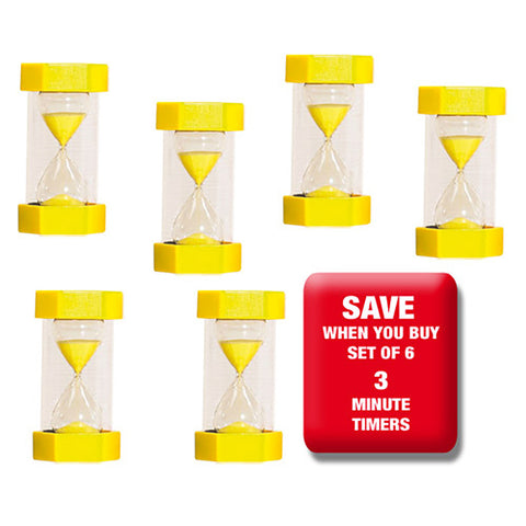 6 x 3 minute Sand Timers Set