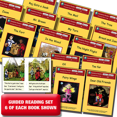 Guided reading set - Dandelion Readers Extended Code Level 1 x 6 of each book