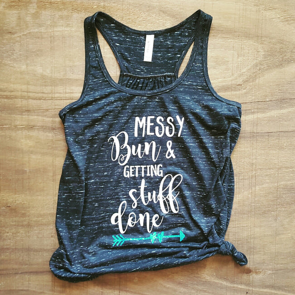 Messy Bun & Getting Stuff Done Tank | Black Marble