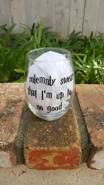 Accio Wine, Polyjuice Potion, Mischief Managed, Solemnly Swear - Wine Glass