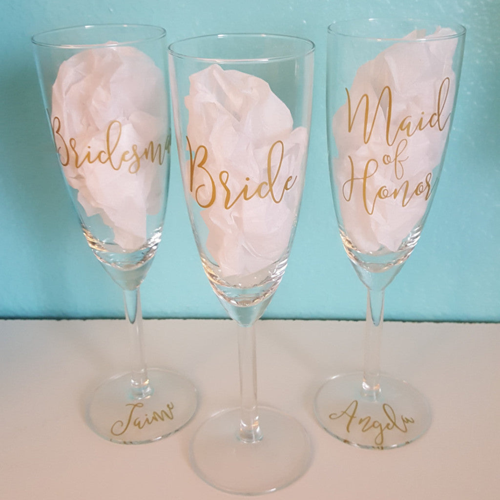 Bride, Bridesmaid, Bridal Party Set - Champagne Glass
