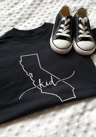 California Kid Shirt | Black + White Lettering