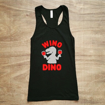 Wino Dino Tank | Black + Red