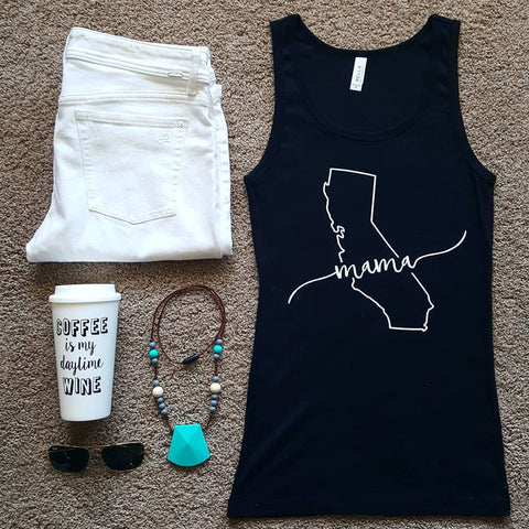 California Mama Tank | Black + White Lettering