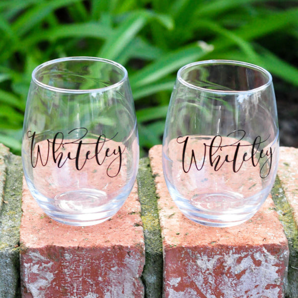 Personalized with Last Name or Monogram - Wine Glass