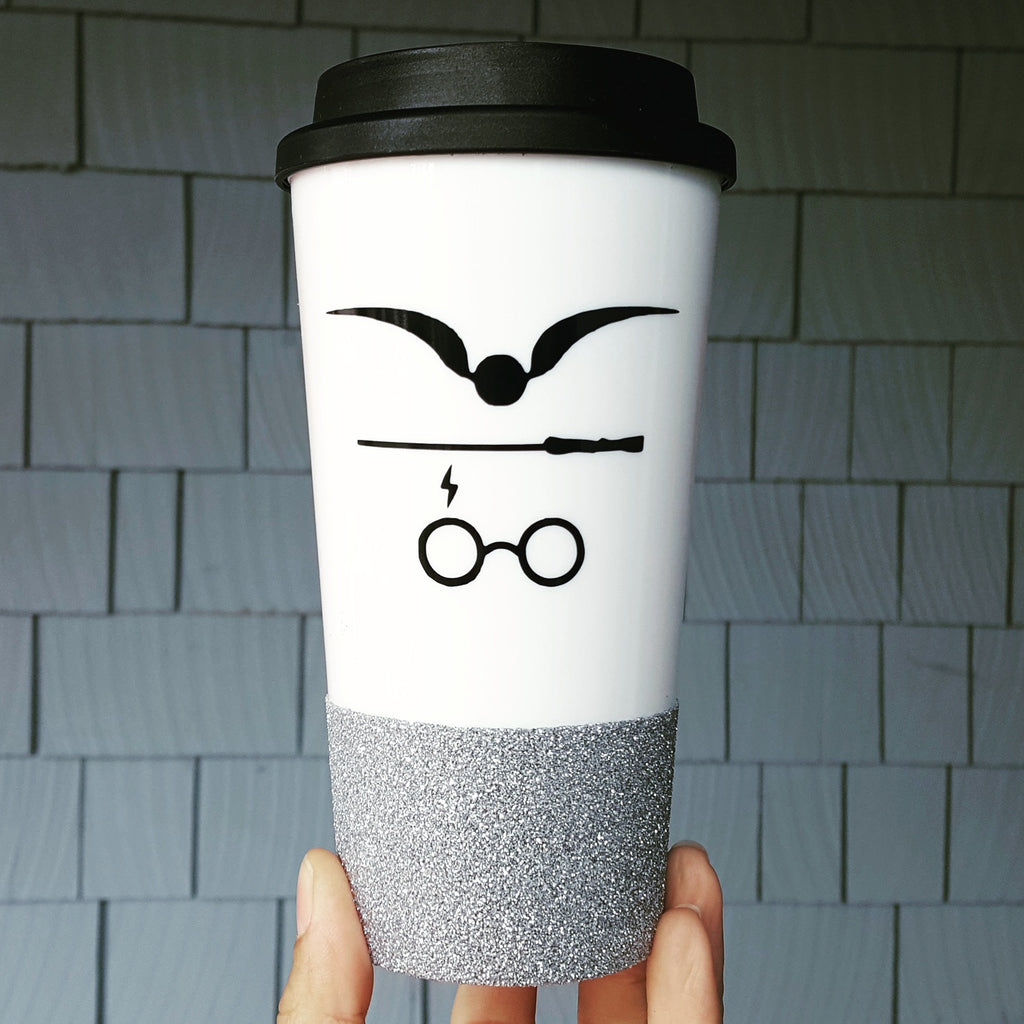 "Harry Potter Design ""Snitch, Wand & Scar"" - {Glitter} Travel Coffee Mug"