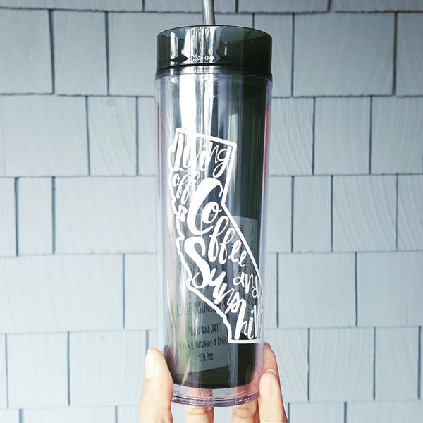 Living Off Coffee & Sunshine - 16oz Tall Tumbler
