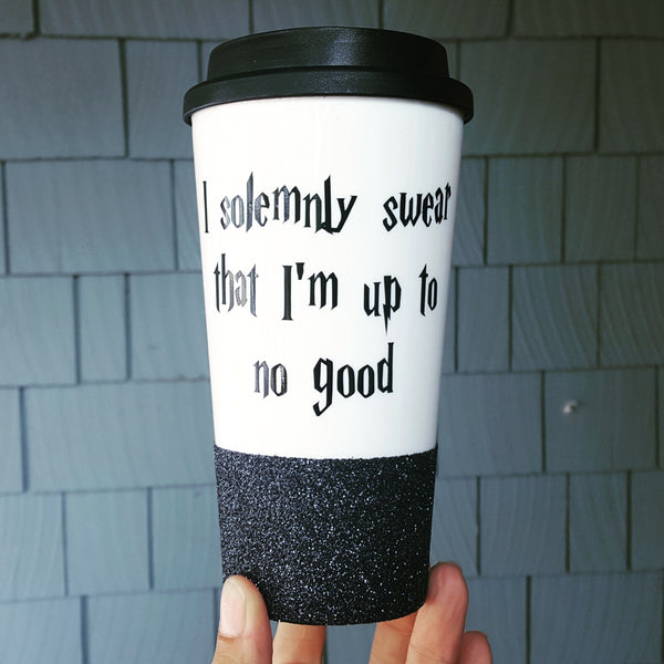 I solemnly swear that I'm up to no good - {Glitter} Travel Coffee Mug