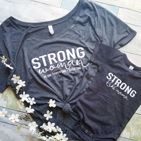 Strong Woman - Strong like Mama | Mama & Kiddos Set | Heather Grey