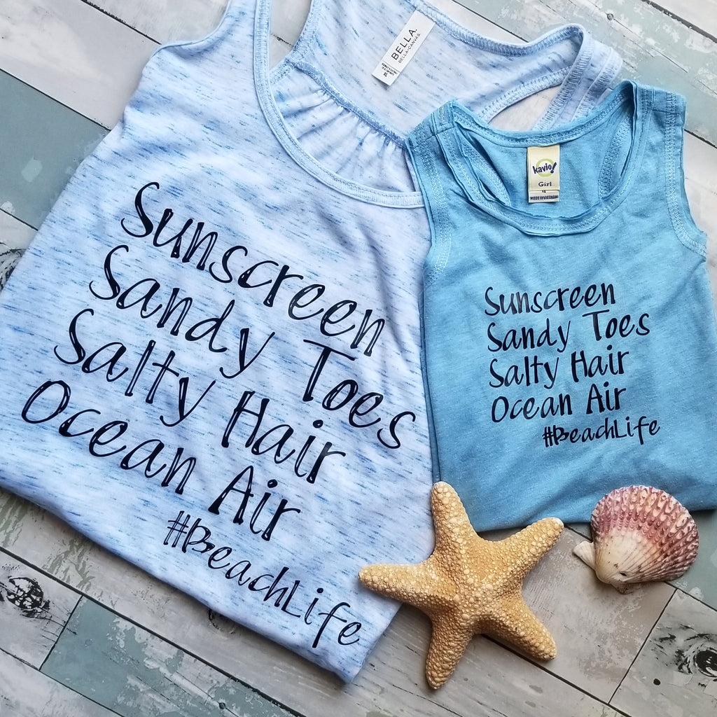 Sunscreen, Sandy Toes, Salty Hair, Ocean Air #Beachlife Tank | Mama & Kiddo Set | Blue