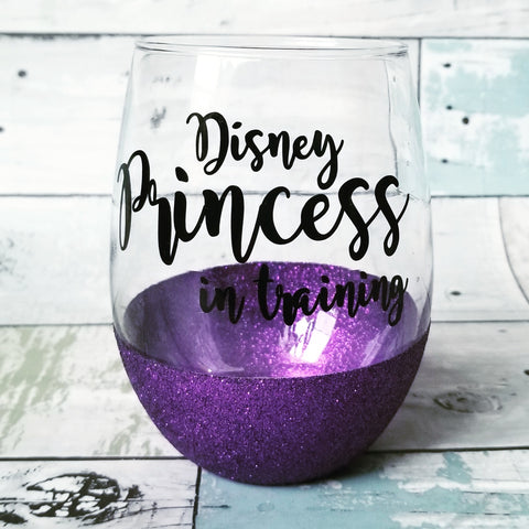 Disney Princess in Training - {glitter} Wine Glass