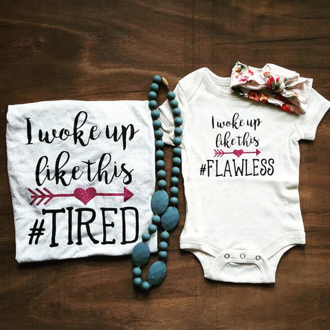 I woke up like this | Mama & Kiddos Set | Oatmeal