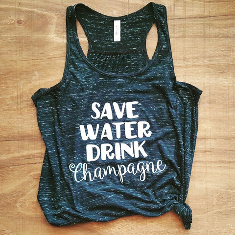 Save Water Drink Champagne | Marble Black