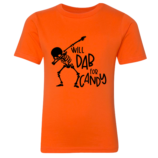 Skeleton Dab Youth Tee | Orange