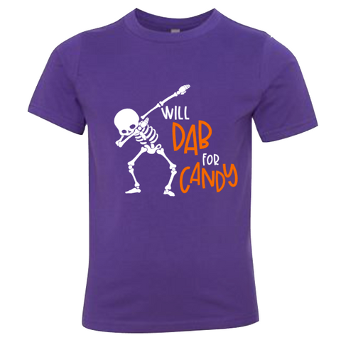 Skeleton Dab Youth Tee | Purple