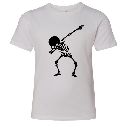Skeleton Dab Youth Tee | White