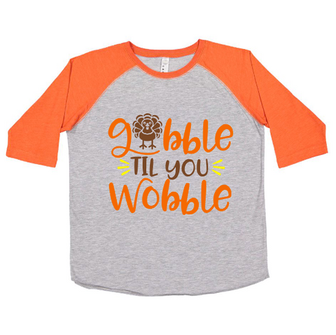 Gobble til you Wobble Raglan | Orange & Heather