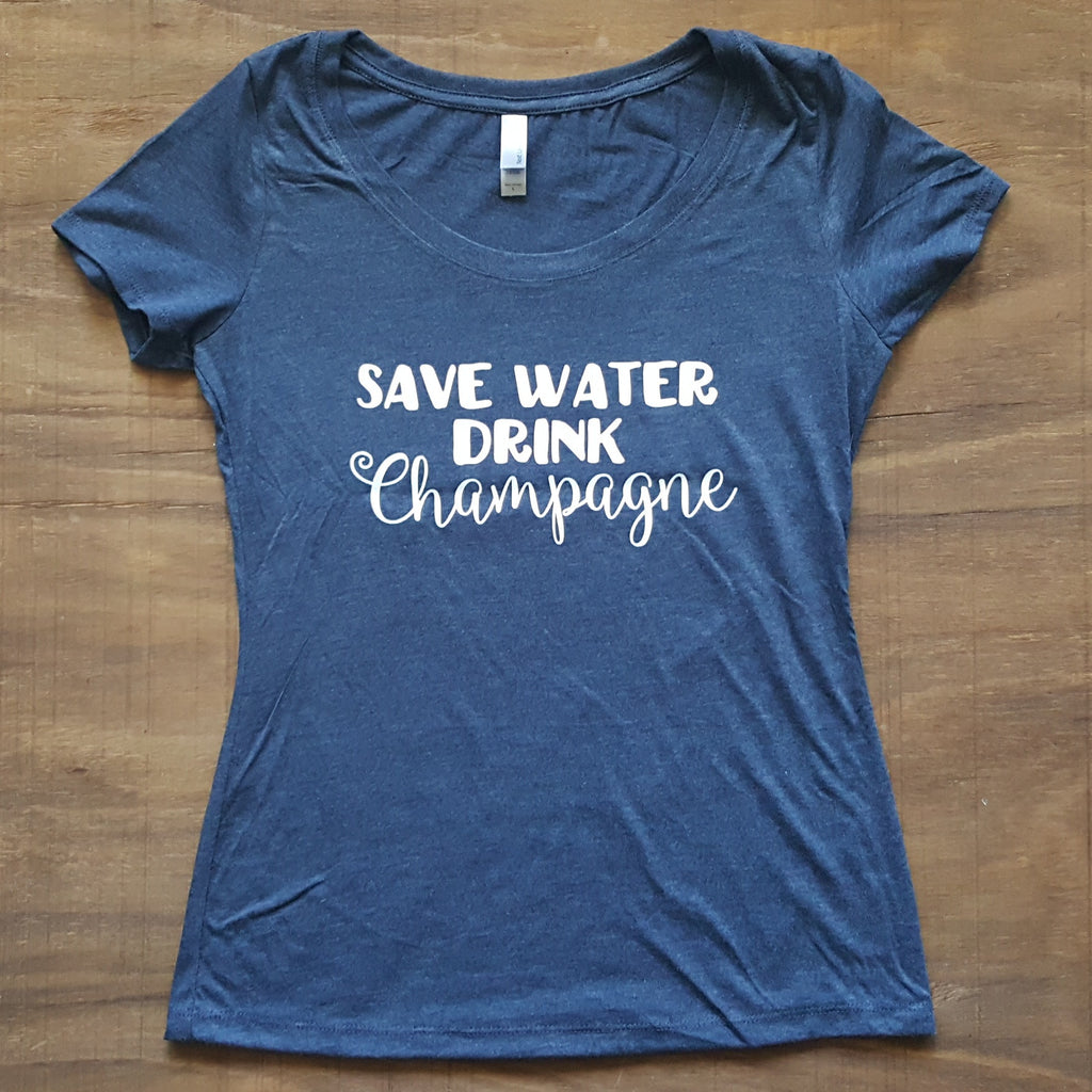 Save Water Drink Champagne | Vintage Navy